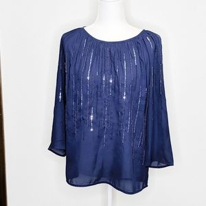 Halogen Women's Top Sz Med Navy Sequins Embroidery